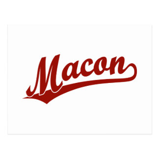 Macon script logo in red postcard
