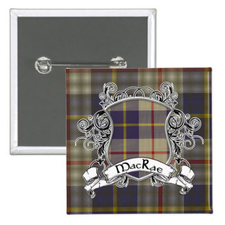 MacRae Tartan Shield 15 Cm Square Badge