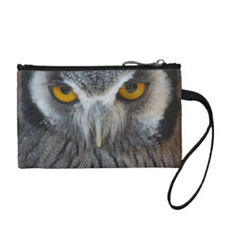 Macro Black and White Scops Owl Coin Wallet