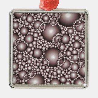 Macro Bubbles Abstract Silver-Colored Square Decoration