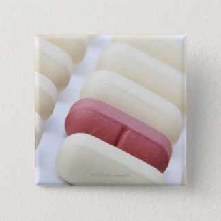 Macro/Close-up of multivitamins on a white 15 Cm Square Badge