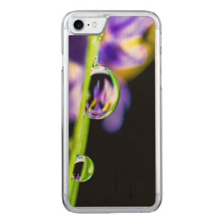 Macro Drop of Water on Blade Grass Purple Flower Carved iPhone 8/7 Case