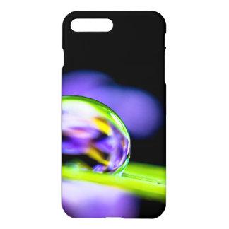 Macro Drop of Water on Blade Grass Purple Flower iPhone 7 Plus Case