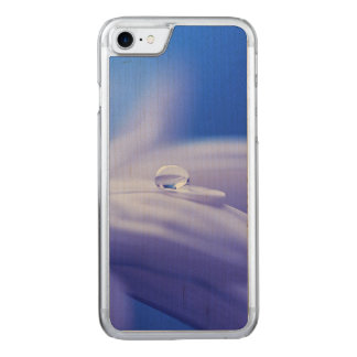 Macro Drop of Water on Blue Flower Photo Carved iPhone 8/7 Case