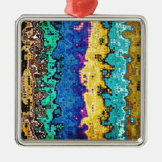 Macro Molecules of Color Silver-Colored Square Decoration