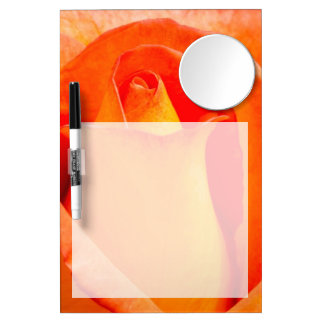 Macro Orange and Yellow Rose Dry Erase Board With Mirror