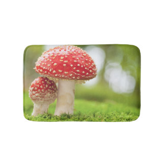 Macro Photo Of Amanita Muscaria In Forest Bath Mats
