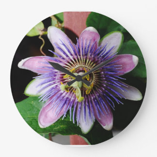 Macro photography passion flower large clock