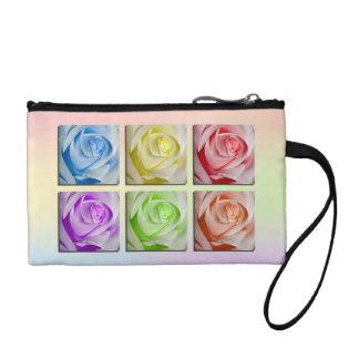 Macro Rainbow Roses Coin Purse