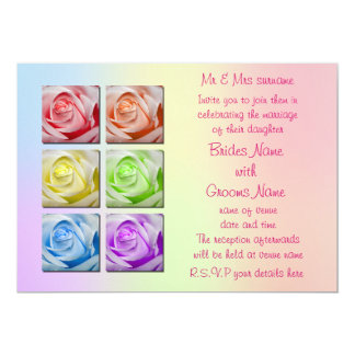 Macro Rainbow Roses Wedding Invitations