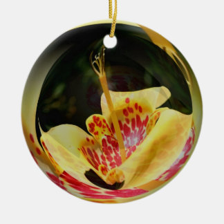 Macro Spotted Yellow Lily Flower Art Ornament