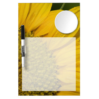 Macro Sunflower With Raindrops Dry Erase Board With Mirror