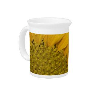 Macro Sunflower With Raindrops Pitcher