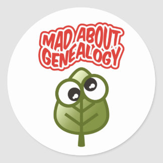 Mad About Genealogy Classic Round Sticker