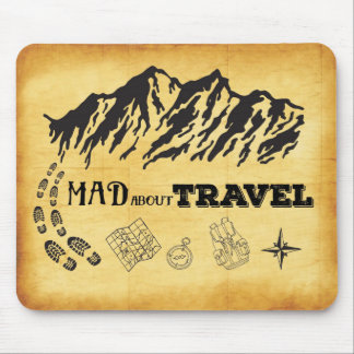 Mad about travel retro vintage style quote mouse mat