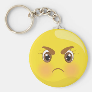Mad/Angry Yellow Emoji Keychain
