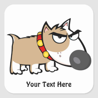 Mad Brown Dog (customisable) Square Sticker