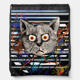 mad cat crazy idea drawstring backpacks