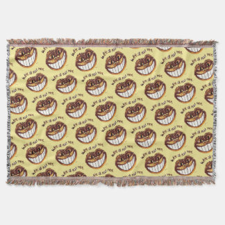 Mad Cat Smile by Aleta Throw Blanket