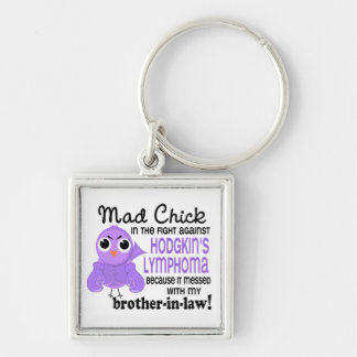 Mad Chick 2 Brother-In-Law Hodgkin's Lymphoma Silver-Colored Square Key Ring