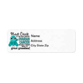 Mad Chick 2 Great Grandma Ovarian Cancer Return Address Label