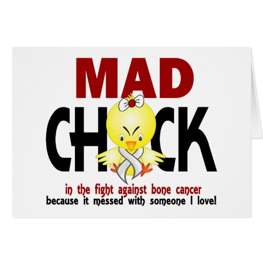 Mad Chick In The Fight Bone Cancer Greeting Cards