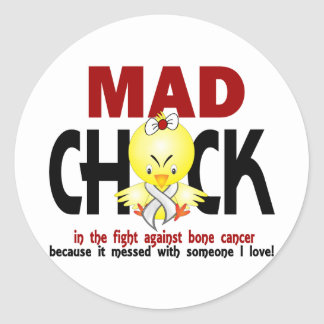 Mad Chick In The Fight Bone Cancer Classic Round Sticker