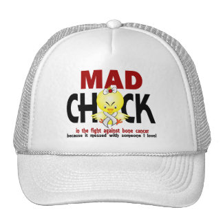 Mad Chick In The Fight Bone Cancer Hats