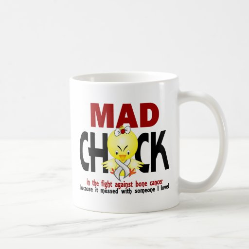 Mad Chick In The Fight Bone Cancer Coffee Mugs