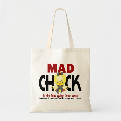 Mad Chick In The Fight Brain Cancer Canvas Bag