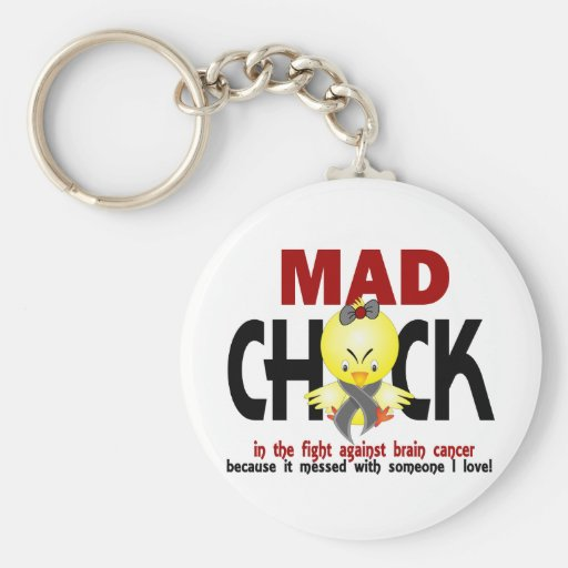 Mad Chick In The Fight Brain Cancer Keychain
