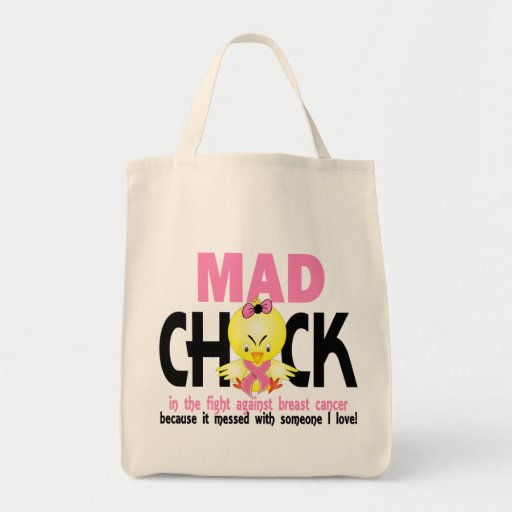 Mad Chick In The Fight Breast Cancer Tote Bags
