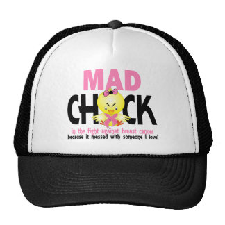 Mad Chick In The Fight Breast Cancer Trucker Hats