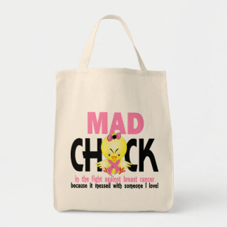Mad Chick In The Fight Breast Cancer Grocery Tote Bag