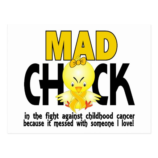 Mad Chick In The Fight Childhood Cancer Postcards