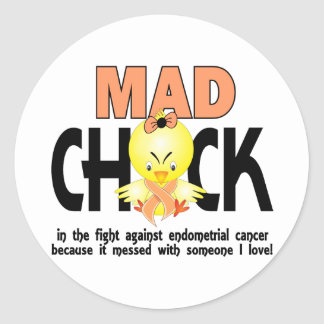 Mad Chick In The Fight Endometrial Cancer Round Sticker