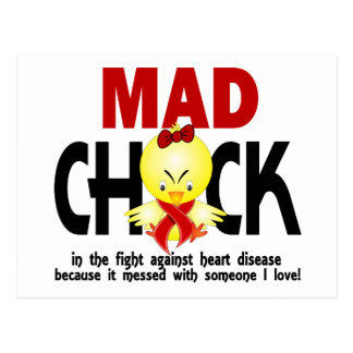 Mad Chick In The Fight Heart Disease Postcard