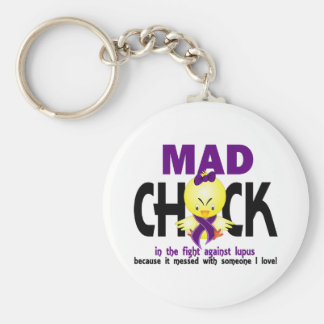 Mad Chick In The Fight Lupus Basic Round Button Key Ring