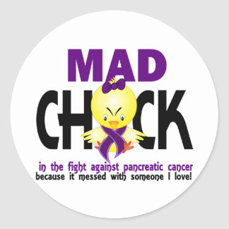 Mad Chick In The Fight Pancreatic Cancer Round Sticker