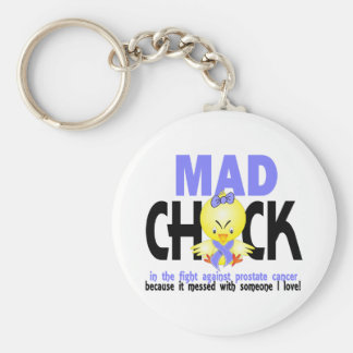 Mad Chick In The Fight Prostate Cancer Basic Round Button Key Ring