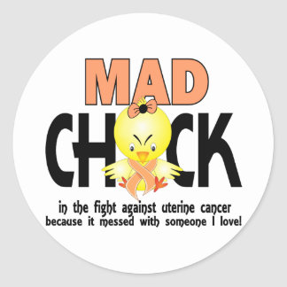 Mad Chick In The Fight Uterine Cancer Classic Round Sticker
