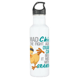 Mad Chick Messed With Grandma 3 Ovarian Cancer 710 Ml Water Bottle
