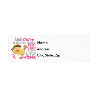 Mad Chick Messed With Mother 3L Breast Cancer Return Address Label