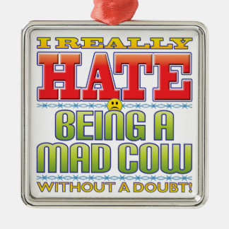 Mad Cow Hate Face Christmas Tree Ornament