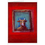 Mad Cow - Indignant upset emotional cow ART Greeting Cards