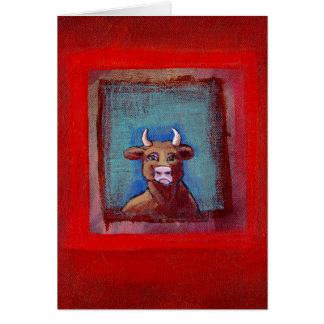 Mad Cow - Indignant upset emotional cow ART Greeting Card