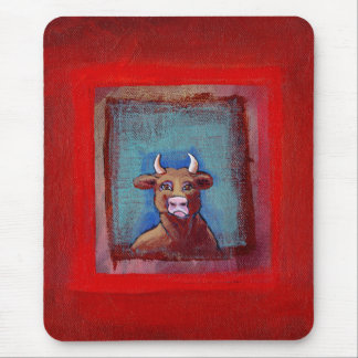 Mad Cow - Indignant upset emotional cow ART Mouse Pad