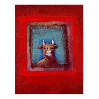 Mad Cow - Indignant upset emotional cow ART Postcard