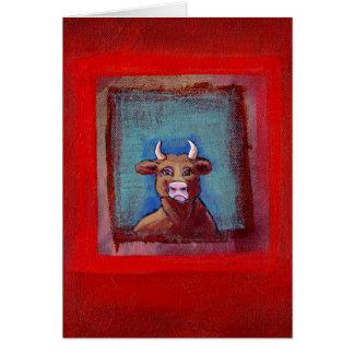 Mad Cow sad indignant upset emotional cow ART Card