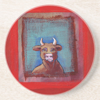 Mad Cow sad indignant upset emotional fun ART Coaster